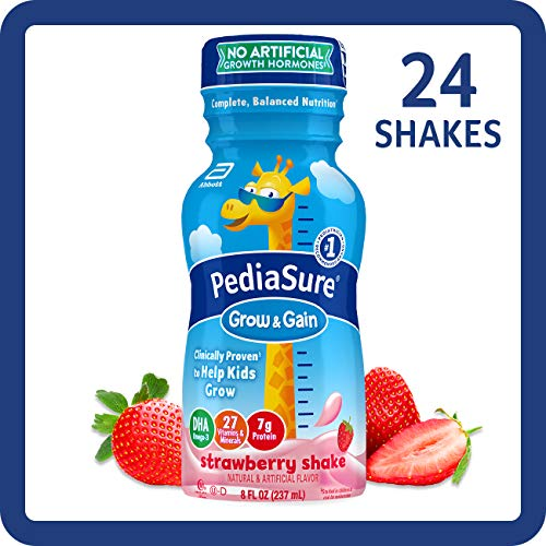 Pediasure Base Grow & Gain Kids' Nutritional Shake, with Protein, Dha, Vitamins & Minerals, Strawberry, 8 Fl Oz, 24Count (070074580555)