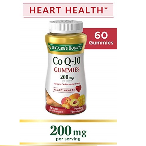 Nature's Bounty CoQ-10 Gummies, Heart Health, 200 mg, Peach Mango Flavored, 60 ea