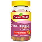 Nature Made Multi for Her + Omega-3 Adult Gummies Lemon, Orange & Strawberry 80.0ea