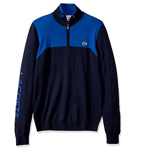 Lacoste Mens Sport Long Sleeve Color Block 1/4 Zip Sweater
