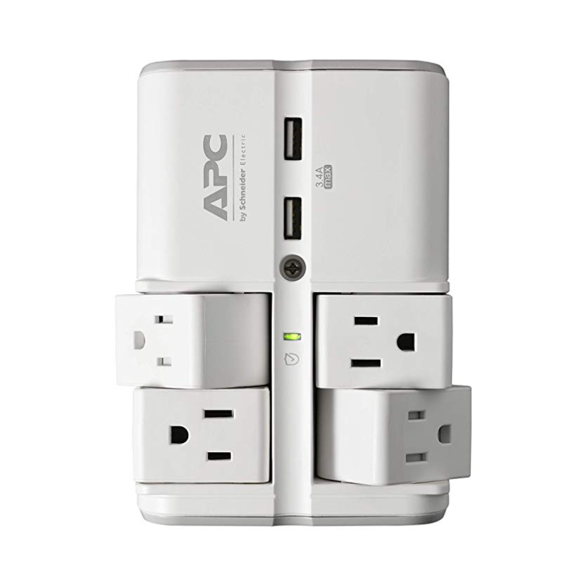 APC Wall Pivot-Plug Surge Protector, 4 Rotating Outlets, 1080 Joule Surge Protector with Two USB Charging Ports, SurgeArrest Essential (PE4WRU3)