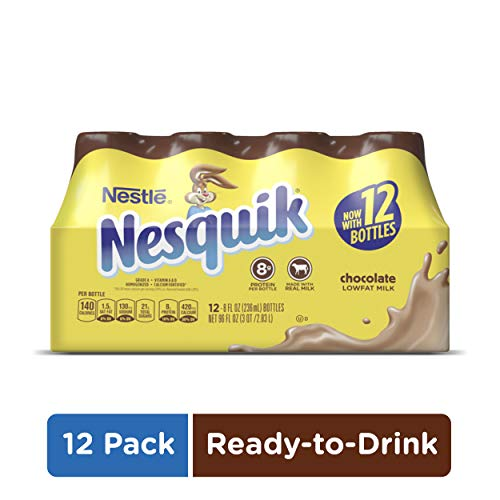 NESQUIK Chocolate Low Fat Milk | Protein Drink | 12 Bottles of Ready to Drink Chocolate Milk