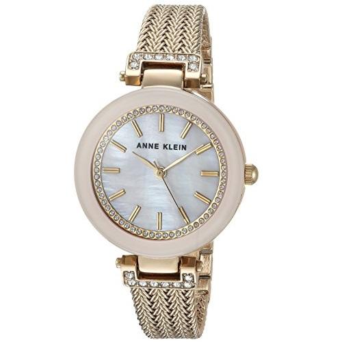 Anne Klein AK/1906PMGB Women's Swarovski Crystal Accented Mesh Bracelet Watch