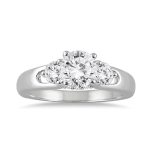 1 CARAT TW DIAMOND THREE STONE ENGAGEMENT RING IN 14K WHITE GOLD