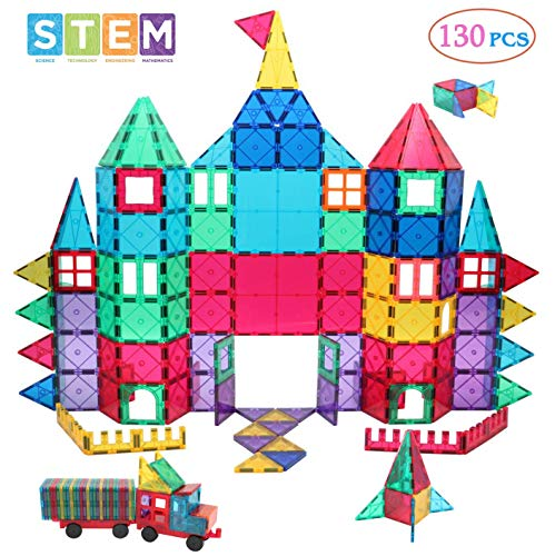 Manve Magnetic Building Blocks Tiles Toy, Magnet Toys 130 Pcs STEM Toddler Learning Toys Kit, Kids Educational Construction Engineering Toys Set