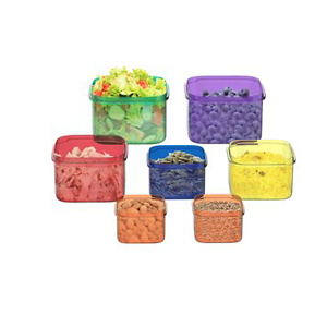 Portion Control Containers- 7 Piece Color Coded Food Storage Set – BPA and DEHP Free, Microwave/Freezer Safe by Classic Cuisine