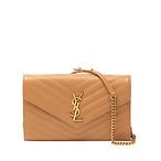 Monogram YSL Grain de Poudre Leather Wallet on Chain