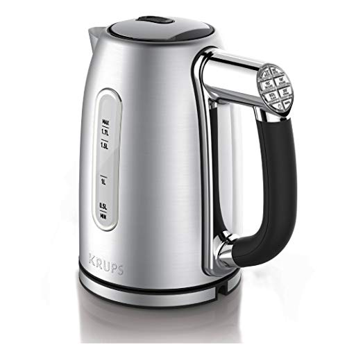 KRUPS BW710D51 Cool-touch Stainless Steel Double Wall Electric Kettle with Adjustable Temperature, 1.7-Liter, Silver