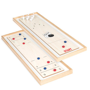 45in 2-in-1 Shuffleboard and Bowling Tabletop Board Game Set