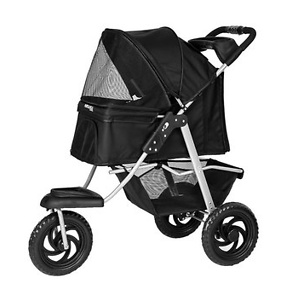 Paws & Pals Deluxe Folding Dog & Cat Stroller, Black