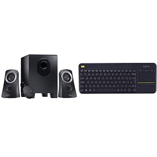 Logitech Z313 Speaker System Bundle with Logitech K400 Plus Wireless Touch TV Keyboard with Easy Media Control and Built-in Touchpad