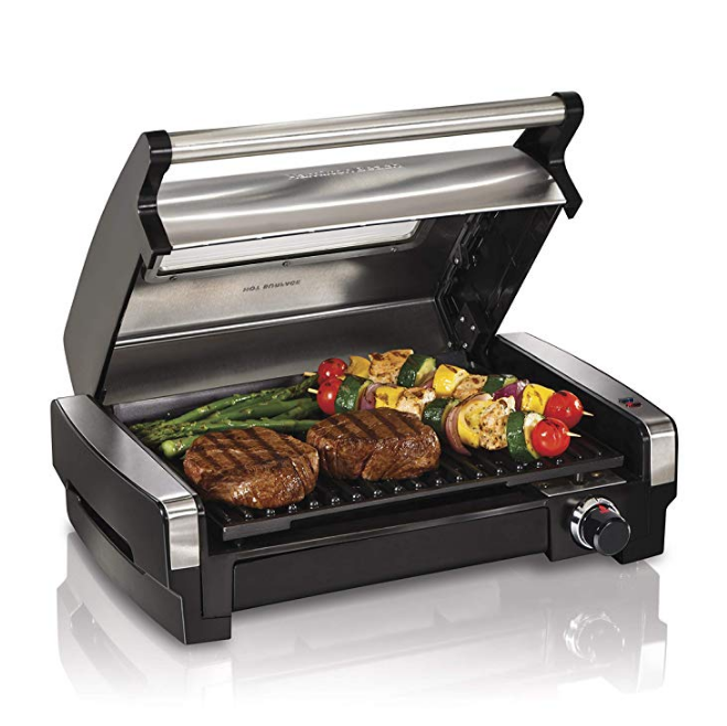 Hamilton Beach 25361 Electric Indoor Searing Grill with Removable Easy-to-Clean Nonstick Plate, Viewing Window, Stainless Steel $69.99