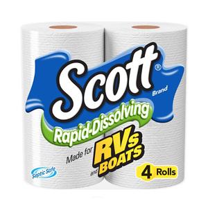 Scott Rapid-Dissolving Toilet Paper, 4 Rolls