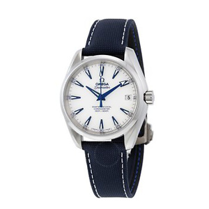 OMEGA Seamaster Aqua Terra Automatic White Dial Blue Nylon Men's Watch