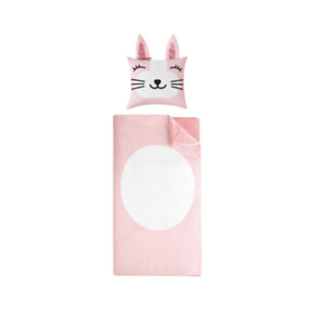 Pink Bunny Sleeping Bag with Figural Pillow for Kids by Heritage Club
