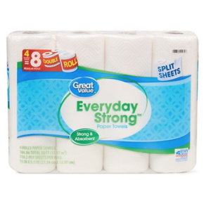 Great Value Everyday Strong Paper Towels, Split Sheet, 4 Double Rolls