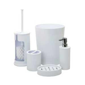 Mainstays Smart Accessories 5-Piece Bath Accessory Set, Arctic White