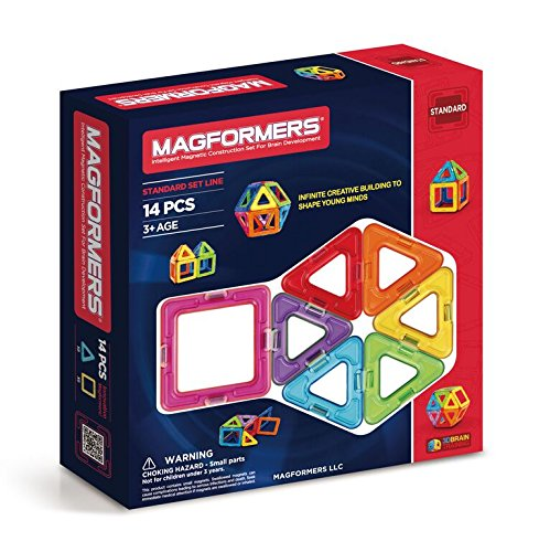 Magformers Basic Set (14-pieces) Magnetic Building Blocks, Educational Magnetic Tiles Kit, Magnetic Construction STEM Toy Set
