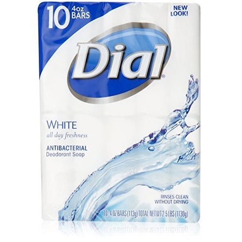 Dial Antibacterial Deodorant Soap, White, 10 Count (Pack of 3)