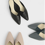 Textured Pointed Toe Wedge Heel Mules