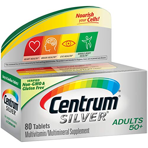 Centrum Silver Adult 80 Count (Pack of 1) Multivitamin / Multimineral Supplement Tablet, Vitamin D3, Age 50+