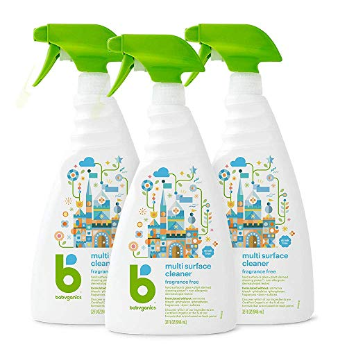 Babyganics Multi Surface Cleaner, Fragrance Free, 32oz Spray Bottle (Pack of 3) $12.69