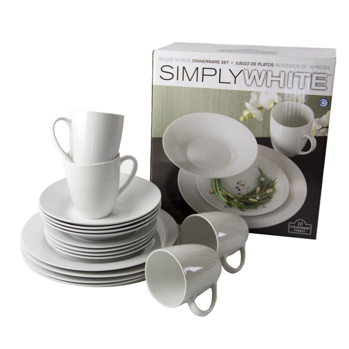 10 Strawberry Street Simply White 16-Piece Round Dinnerware Set $21.60