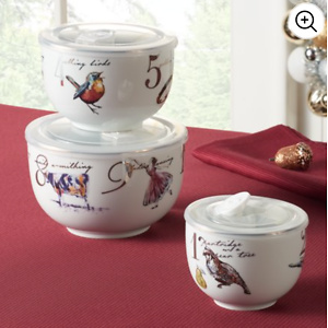 Better Homes & Gardens 3-Piece 12 Days of Christmas Nested Bowl Set with Lids