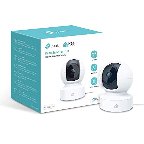 TP-LINK Kasa Indoor, 1080P HD Smart WiFi Security 360 Pan and Tilt Camera, Night Vision, Motion Detection, Remote Monitor, Works with Google Assistant and Alexa (KC110),Black and White