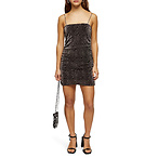 TOPSHOP Glitter Metallic Leopard Ruched Minidress