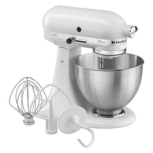 KitchenAid经典4.5夸脱白色直立式食物搅拌器