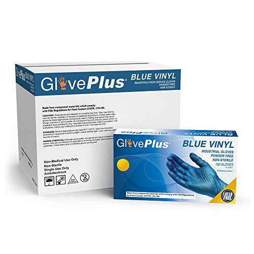 GlovePlus Industrial Blue Vinyl Gloves - 4 mil, Latex Free, Powder Free, Disposable, Non-Sterile, Food Safe, Small, IVBPF42100, Case of 1000 $37.70