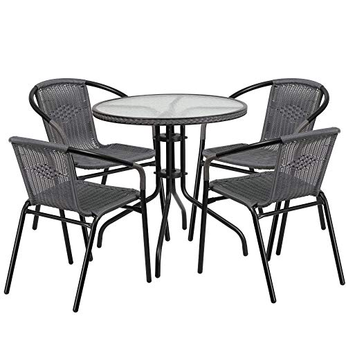 Flash Furniture 28'' Round Glass Metal Table with Gray Rattan Edging and 4 Gray Rattan Stack Chairs $109.97