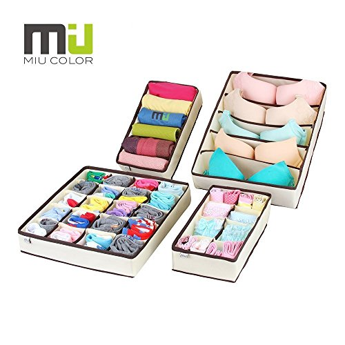 MIU COLOR Drawer Dividers Closet Organizers Bra Underwear Storage Boxes 4 Set