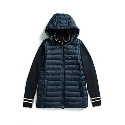 Tommy Hilfiger Women's Adaptive Puffer Jacket with Knit Sleeves and Magnetic Zipper