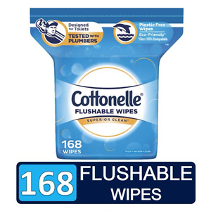 Cottonelle FreshCare Flushable Wipes, resealable pack, 168 wipes total