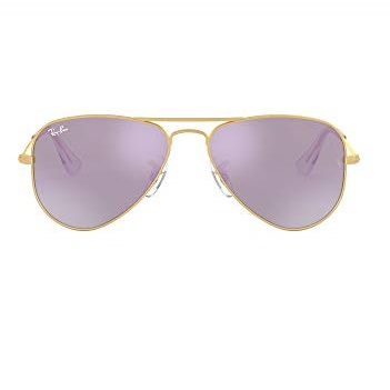 Ray-Ban RJ9506S Aviator Kids Sunglasses, Matte Gold/Lilac Flash, 50 mm