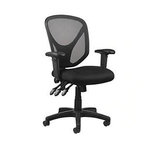Realspace® MFTC 200 Mesh Multifunction Ergonomic Mid-Back Task Chair, Black