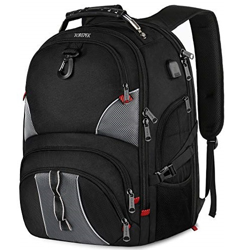 YOREPEK 17 Inch Laptop Backpack, Extra Large Travel Backpacks for Men and Women,TSA Friendly Computer Backpack with USB Charging Port,, Black