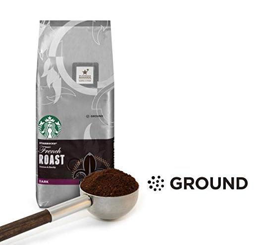 Starbucks French Roast Dark Roast Ground Coffee, 20-Ounce Bag