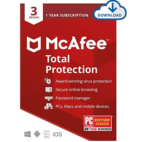 McAfee Total Protection, 3 Device, Antivirus Software, Internet Security, 1 Year Subscription - 2020 Ready [Download Code]
