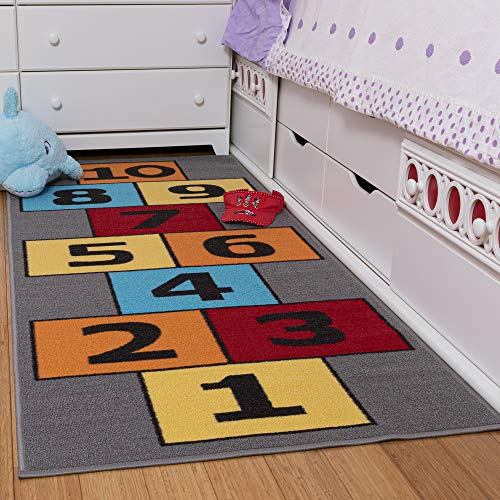 "Ottomanson Children's Garden Collection Yellow Background Hopscotch Design 2'7""X6'0"" Children Nursery Kid's Play Runner Rug"