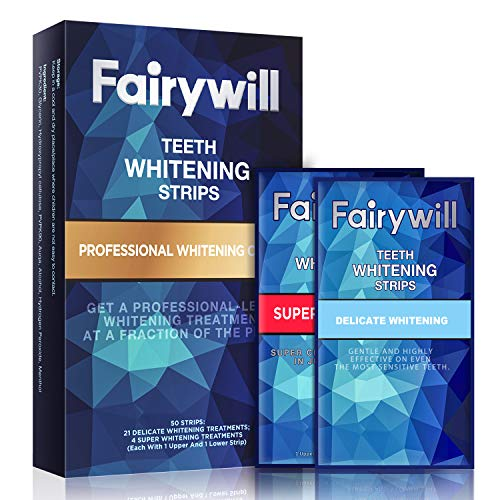 Fairywill Professional and Express Whitening Strips Kits Pack of 50 Pcs White Strips, Remove Stains and Whiten Teeth in 1 Hour, discounted price