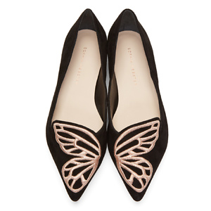Sophia Webster  Black Suede Bibi Butterfly Flats