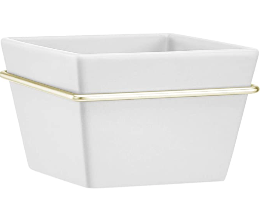 AmazonBasics Wall Planter, Square - White/Brass