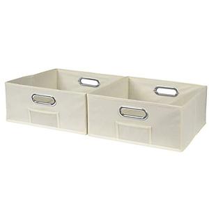 Niche Cubo Half-Size Foldable Fabric Storage Bins (Set of 2), Beige