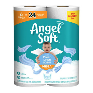 Angel Soft Toilet Paper, Linen, 6 Mega Rolls (= 24 Regular Rolls)