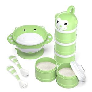 BabyKing Baby Feeding Set Harmless & Cartoon, Baby Suction Bowl Set, Children Tableware Set, Suction Bowl, Spoons Forks Set, Milk Powder Dispensers for Baby's 3 Meals (Green)