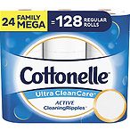 Cottonelle Ultra CleanCare Soft Toilet Paper with Active CleaningRipples