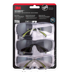 3M SF400-W-3PK-PS Secure-Fit 400 Anti-Fog Eye Protection Glasses